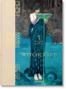 Front cover of a book entitled WITCHCRAFT, with a painting by Gustav Klimt in colours of blue and green on it